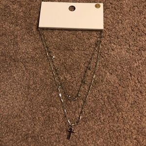 Brand New Forever 21 Necklace with stones & cross